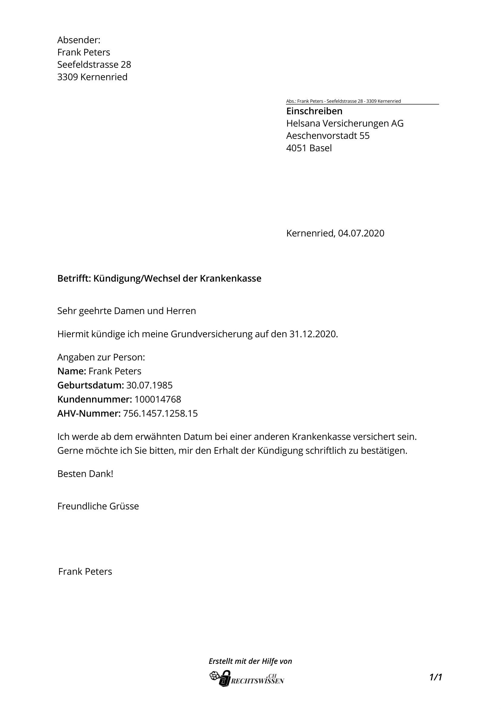 Kundigung Krankenkasse Vorlage Gratis Word Vorlage Vorla Ch 5