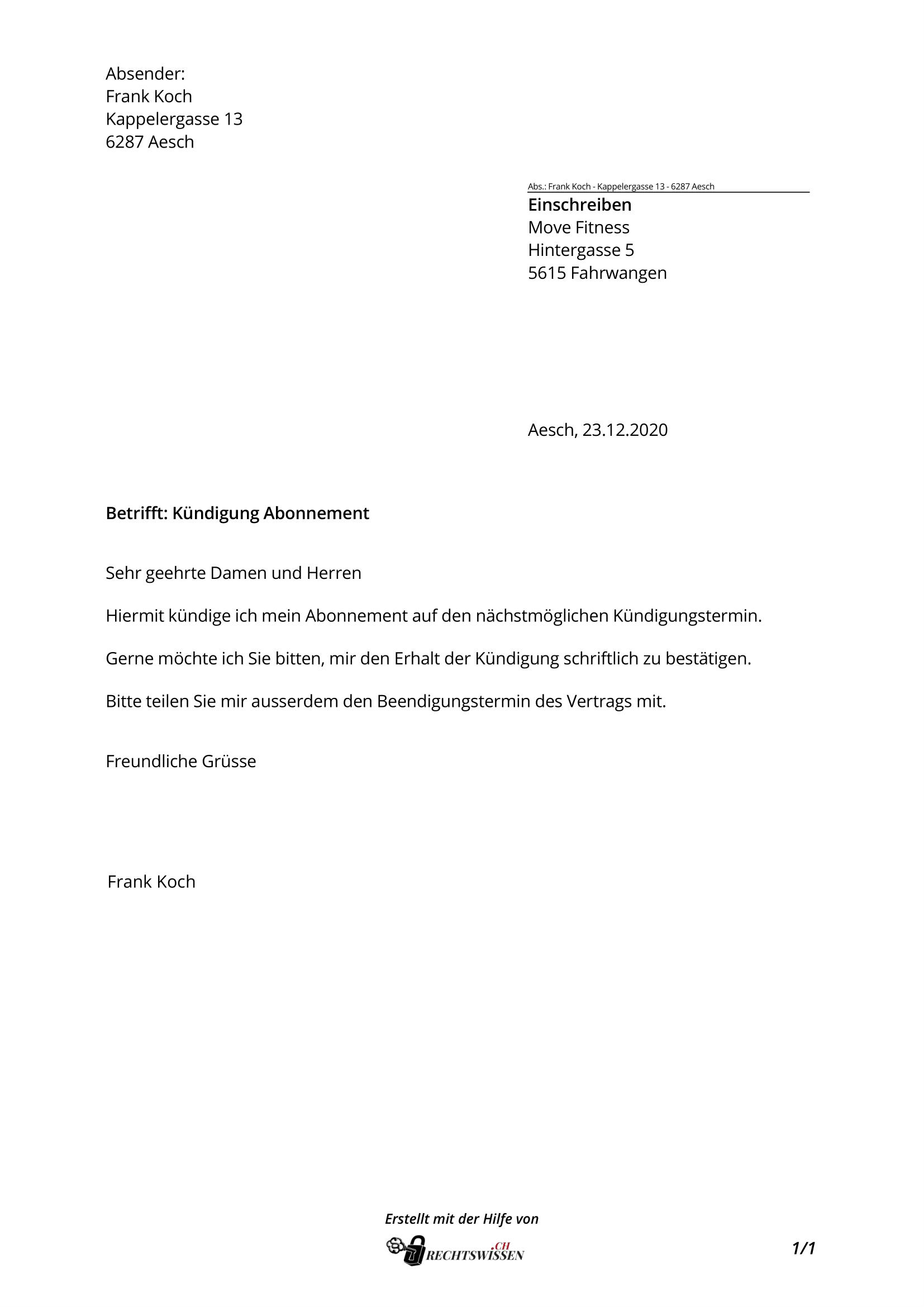 Kündigung Abo: Fitness Abo, UPC, Zeitung, mit Vorlage