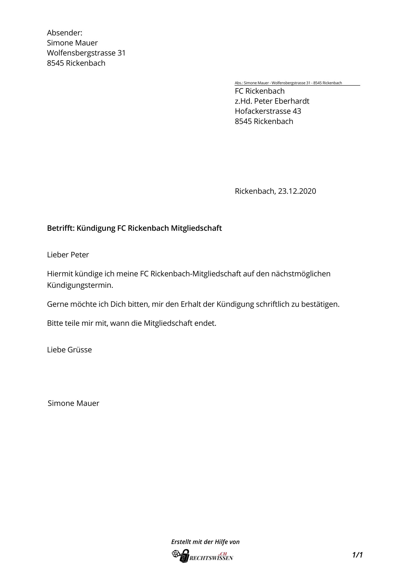 Förderverein kündigen muster kostenlos mitgliedschaft LORA Förderverein